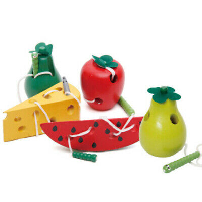 Worm Threading Fruit Cheese Kid Early Educational Toy Color Wooden Lacing Game