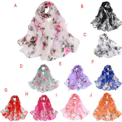 Women Beauty Blossom Printing Long Soft Wrap Scarf Ladies Shawl Scarves UK