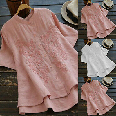 Plus Size Women Embroidered Loose Blouse Ladies Contton Linen Tunic T Shirt Tops