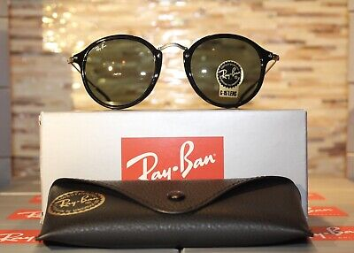 96905103eac RAY-BAN ROUND FLECK Rb2447 1157 49Mm Tortoise-Black   Green Classic ...