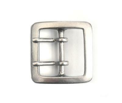 40mm Antique Silver SOLID BRASS HEAVY SQUARE BUCKLE Double Prong Garrison Belt