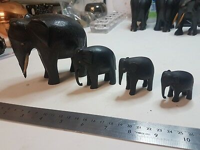 Vintage ebony elephant set of 4, Antique ebony elephant set of 4