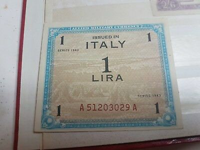 Allied Military Currency 1 Lira Banknote