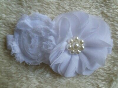 Baby clothes GIRL premature/tiny, 5-6lb/2.3-2.7kg white flowers special headband