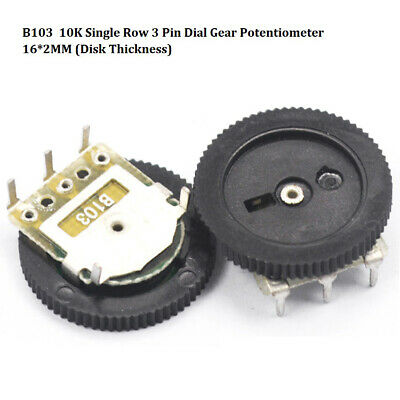 B103 10K Single Row 3 Pin Dial Gear Potentiometer 16*2MM (Disk Thickness)