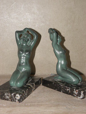 vintage French Art Deco bookends figure Verrier 1930 Stunning figurine lady book