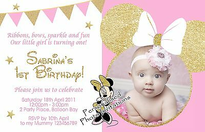 Personalised Minnie Mouse Birthday Invitations Pink Gold 1st 2nd Photo Invites
