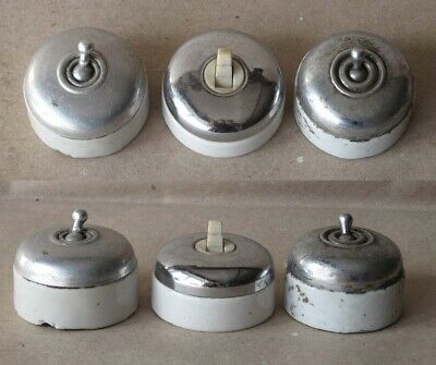 3 ANTIQUE FRENCH PORCELAIN ELECTRIC SWITCHES / ca 1910s / RARE