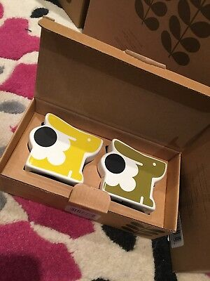 Set of 2 Orla Kiely ceramic egg cups Seagrass & Sunshine rabbits BNIB