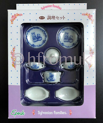 Sylvanian Families BLUE Ceramic Porcelain Cooking Cookware Set UNUSED JAPANESE