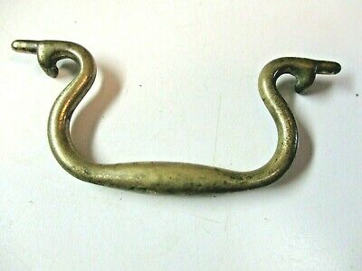 """1 Vintage Bail Handle For Drop Pull Repair Dark Aged Solid Brass 3-1/4"""" Length"""