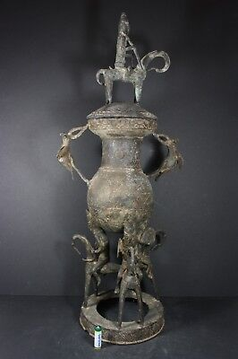 """Large African bronze container """"Horse riders"""", SAO tribe, Chad  TRIBAL ART"""