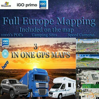 COMPATIBLE TO IGO Primo CARD 2019 EUROPE MAPS Car/Truck