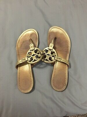 c8f267382 Tory Burch Miller Metallic Gold Tumbled Leather Thong Sandals Flats Size 8M