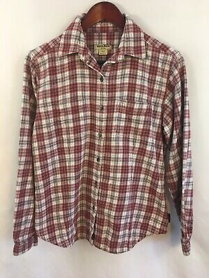 47a7570b6656 Woolrich Womens Flannel Shirt Size S Red White Plaid Long Sleeve Button  Down Top