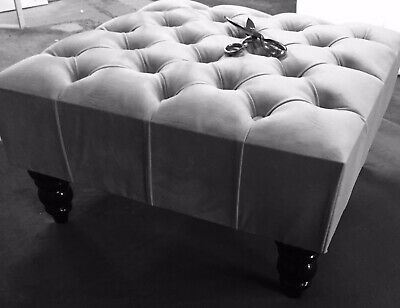 New Cloud Grey Ve Chesterfield Style deep Buttoned Footstool/Coffee Table...