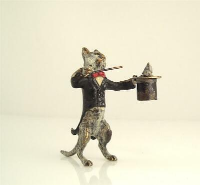 Old Original ~1930 Franz Bergmann Vienna CAT - MAGICIAN with MOUSE in HAT Bronze