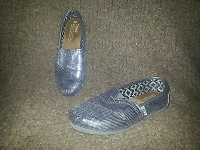 0872d7f19e9 TOMS Dark Silver Gray Sequin Slip-On Shoes-Size 6