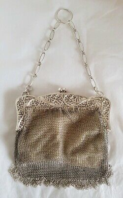 Antique Sterling silver mesh link / chain mail Evening Bag. Edinburgh 1943