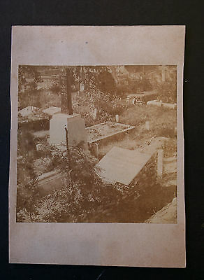 Antique Sepia Cabinet Card Photo 1880s Cemetery Headstones Graves