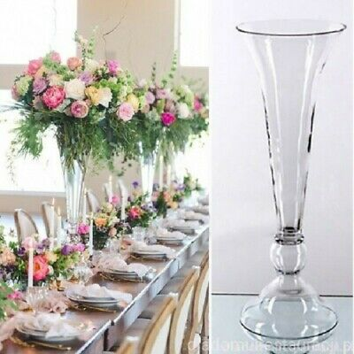 "Handmade Large Clear Glass Reversible Vase trumpet 31""/80cmWedding Centrepieces"