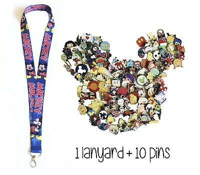 Disney Pins (10) + Mickey Lanyard Blue Red Name+ Pin Trading Guide - New!