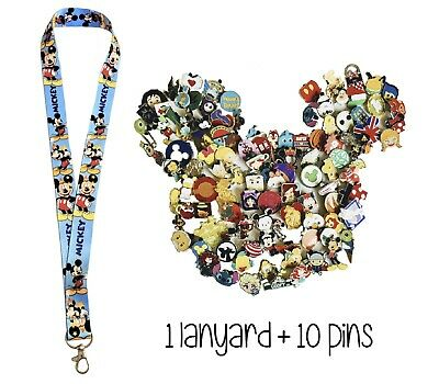 Disney Pins (10) + Mickey Mouse Stars Lanyard + Pin Trading Guide - New!
