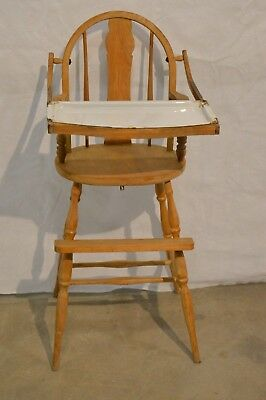 Vintage Antique Wooden Baby High Chair