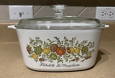 RETIRED Corning Ware 3 Qt Square Casserole With Lid Spice of Life FREE SH A-3-B