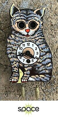 Vintage German Kitty Cat Cuckoo-Style Wind-Up Clock W/ Moving Eyes Free Ship