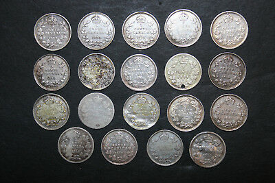 Lot of 19 Canadian Half Dimes 5 Cents Canada 1881 1885 1902 1903 1906 1908 +More