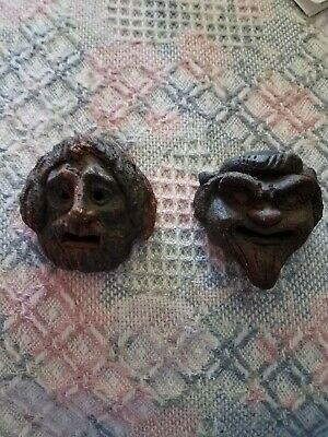 Greek comedy tragedy masks, handmade fired clay, by prominent artist