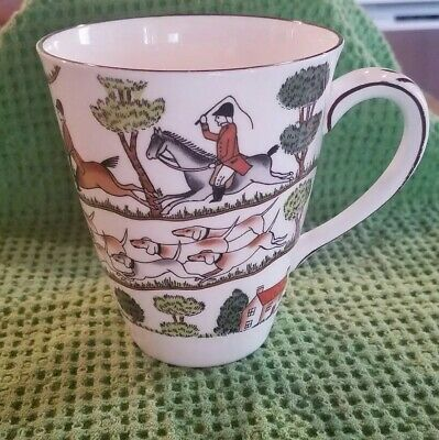 Crown Staffordshire Hunting Scene Fine Bone China Mug / Cup Made in England