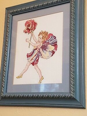 Hand Crafted Cross Stitch Flower Fairy Picture
