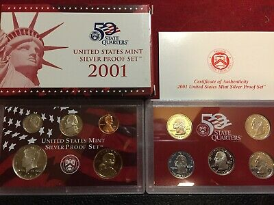 Genuine Silver 2001 US Mint Proof Set with Box /& COA