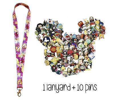 Disney Pins (10) + Rapunzel Tangled Lanyard + Pin Trading Guide - New!