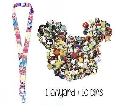 Disney Pins (10) + Princess Dot Lanyard Cinderella Belle + Trading Guide - New!