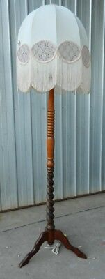 Wooden Standard Floor Lamp Barley Twist Mahogany and Oak Art Deco Vintage