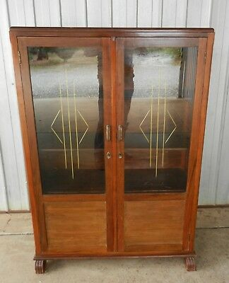 Display Cabinet Glass Doors 3 Shelf Gold Etching Vintage Art Deco 1920