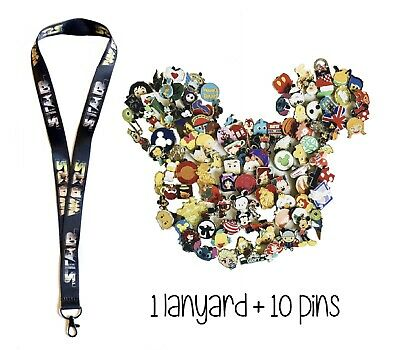 Disney Pins (10) + Star Wars Logo Lanyard (color) + Pin Trading Guide - New!