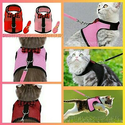 Cat Harness Coat and Leash Lead Set Bow Tie Velcro Breathable Soft Easy 4Colours