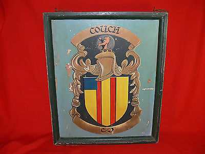 Vintage COUCH Coat of Arms Hanging BRITISH PUB SIGN Wooden BAR MANCAVE DISPLAY