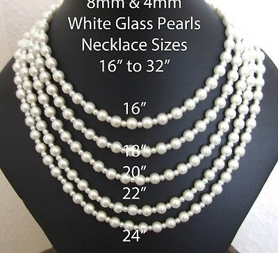 "60"" 10cm 8mm & 4mm White Glass Pearl Necklaces Silver Plated Lobster Clash IC601"