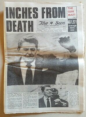 THE SUN April 1, 1981 RONALD REAGAN SHOOTING Nice clean complete paper