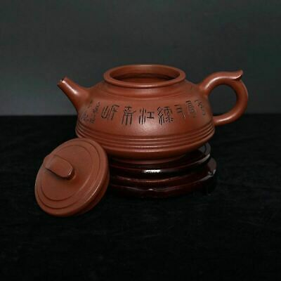 "2.7""H Antique Chinese Zisha Teapot Hand-Carved Yixing Sand Ware Marks"