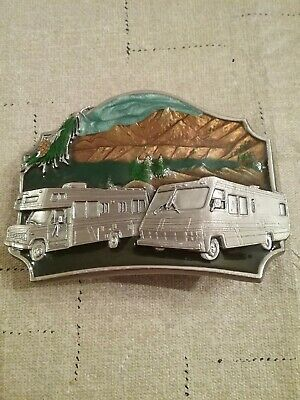 1987 Siskiyou  Pewter Rv Motor Home Belt Buckle With Lacquered Scenery