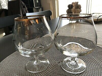 Mikasa Set of 2 Full Lead Crystal TS 101 Wheaton Brandy Snifter No.18 with gold