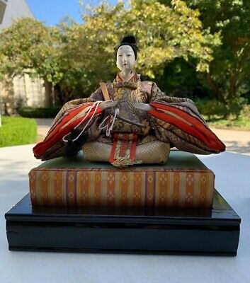 Antique Japanese Emperor Hina Doll With Stand