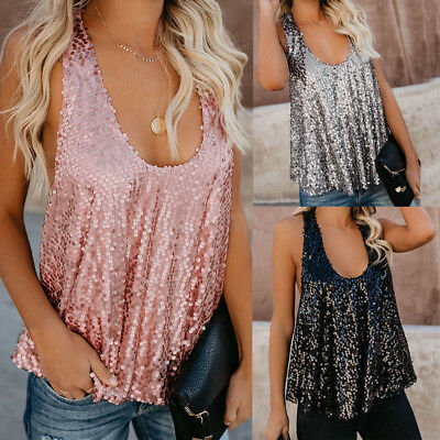 Sexy Women's Solid Sequin Sleeveless Casual Loose Tank Tops Blouse Vest