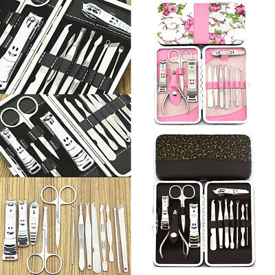 12Pcs Manicure Pedicure Set Stainless Nail Clippers Kit Cuticle Grooming Beauty